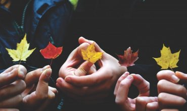 People holding different colour leaves